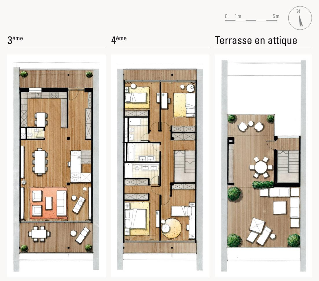 Vue En Plan Dun Duplex Pdf : Attiques duplex terrasse sur toit immobilier de luxe